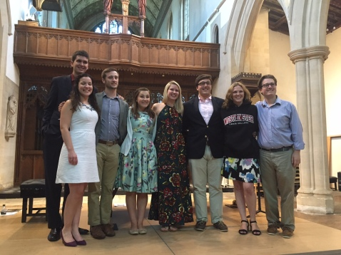 Master class participants: Storm Koveleski, Moira Gannon, Austin Turner, Sara Munson, Emily Johnston, Jonathan Feinstein, Elin Manahan Thomas, and Jonathan Palmer Lakeland '14, accompanist for the masterclass and Administrator for the Institute.
